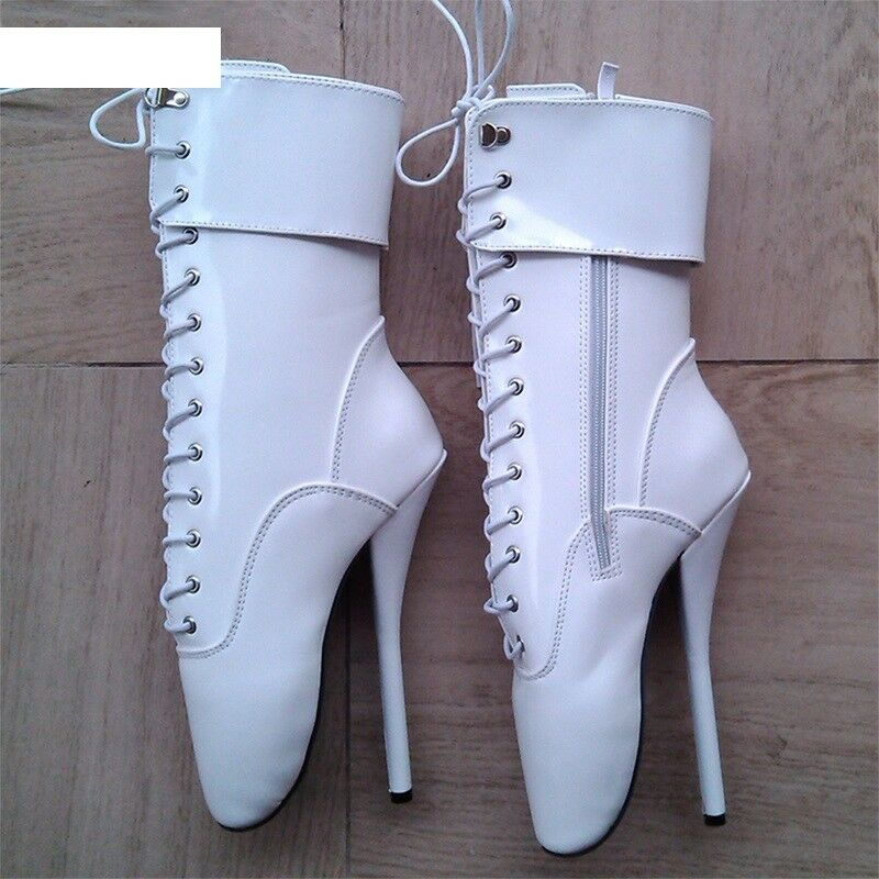 WHITE PVC Ankle High LOCKING Ballet Boots Boots Boots with STRAPS, high heals, sexy boot 78f21d