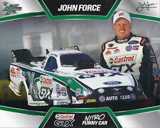 "2014 JOHN FORCE /""CASTROL GTX/"" FUNNY CAR NHRA HANDOUT POSTCARD"