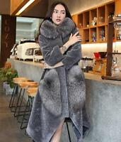 Womens 100% real cashmere fox fur collar hooded outwear parka Jacket coat winter