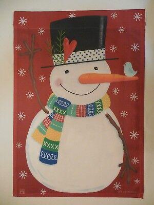 """"""" Hello """" Colorful Winter / Valentine's Day Snowman W/ Heart, Bird Garden Flag"""
