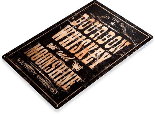 Signo de Bourbon Whiskey Negro Rústico De Estaño destilación signo Bar Pub Tienda Cueva A025