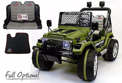Auto Elettrica Per Bambini Macchina Jeep Radiocomandata DOPPIO Posto Verde