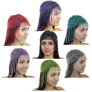 Red-Purple-Women-Beaded-Cleopatra-Belly-Dance-Headpiece-Head-Costume-Hip-Shakers