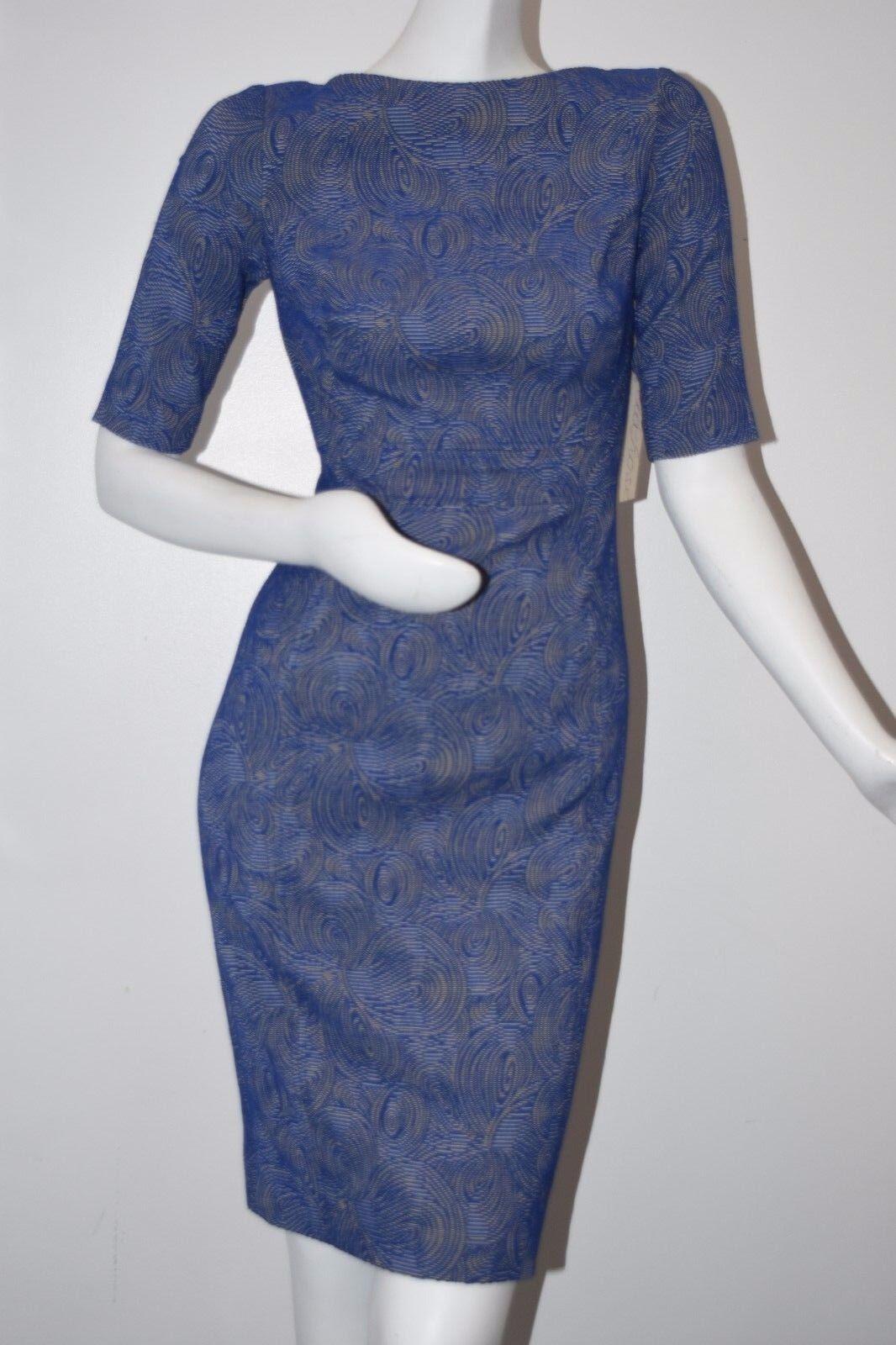 NEW LELA pink Swirl Jacquard Half Sleeve Sheath Dress Lapis bluee 4