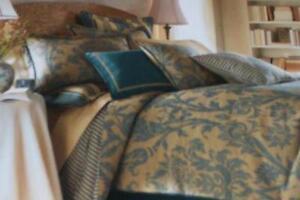 Image Is Loading American Living King Comforter Set Eastbourne Teal Tan