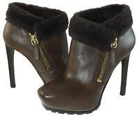 Guess Womens Ivorie Fur Zipper Pull On Platform Dress Heels Ankle Boots