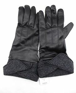 100-LORD-amp-TAYLOR-Black-Soft-Supple-Gray-Wool-Blend-Cuff-Gloves-8-NWT