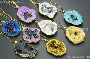 Natural-Druzy-Quartz-Agate-Geode-Nugget-Pendant-Necklace-18K-Gold-Healing-Beads