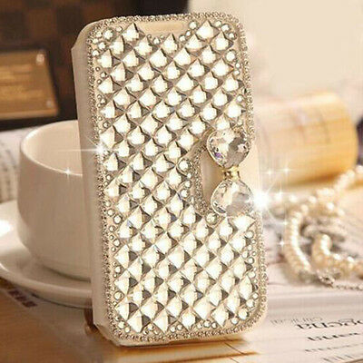 Luxury Bling Rhinestone Diamond Leather Flip Wallet Phone Case Cover For Sony
