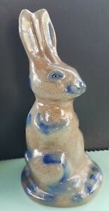 Beaumont-Pottery-Bunny-Bank-Maine-Salt-Glazed-Stoneware-Blue-Rabbit-1995-BBP
