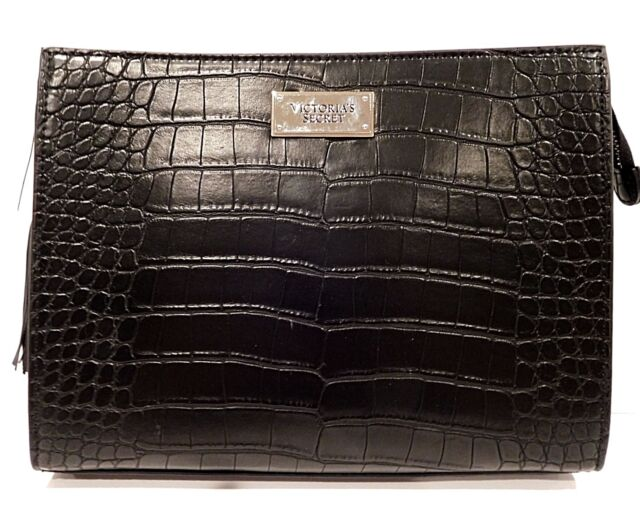 Victoria S Secret Clutch Large Purse Handbag Black Python Crocodile