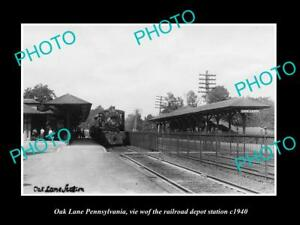 OLD-LARGE-HISTORIC-PHOTO-OF-OAK-LANE-PENNSYLVANIA-THE-RAILROAD-DEPOT-c1940