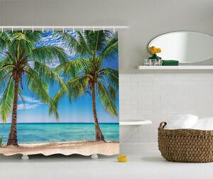 Blue Green Beige Palm Trees on Paradise Beach Fabric Shower Curtain