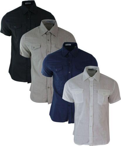 Mens Slim Fit Short Half Sleeve Button Shirt Linen Smart Casual Summer Beach