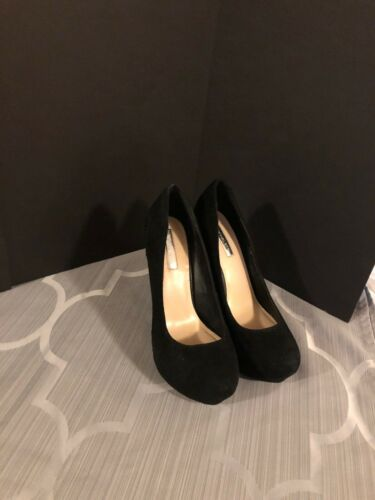 H By Halston Black Suede And Snakeskin Platforn Pu