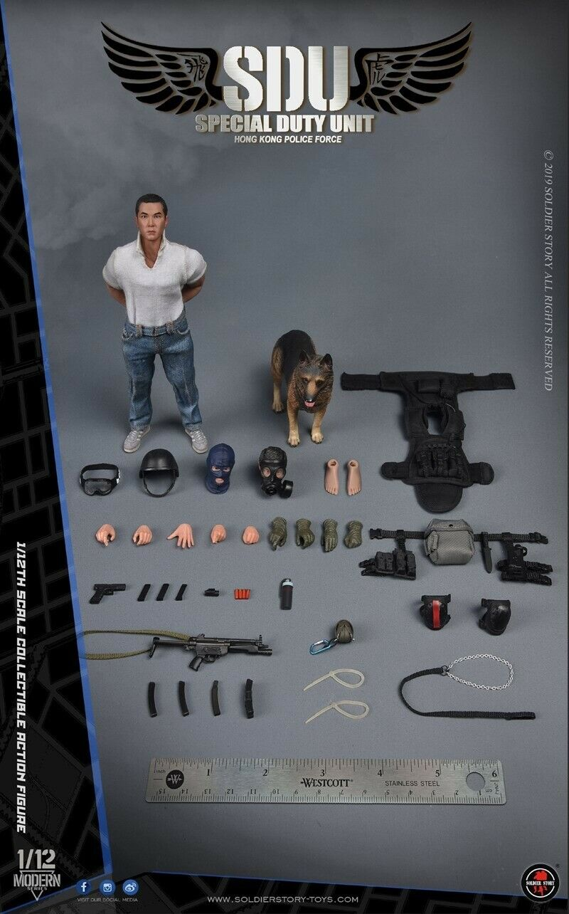 Pre 1 12 Scale Soldier Story HK SDU Canine Handler SSM-003 Action Figure Set Toy