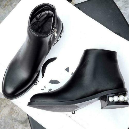 Details about  /Women Black Round Toe Ankle Boots Pearl Heel Zip Oxfords Vogue Boots Flats @didi