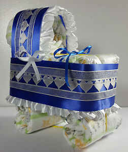 Diaper Cake Bassinet Carriage Baby Shower Gift Boy Royal Blue And