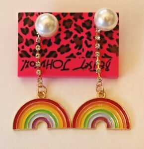 Betsey-Johnson-Crystal-Rhinestone-Enamel-Pearl-Rainbow-Post-Earrings
