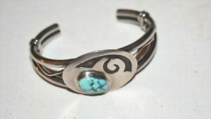 HOPI-OVERLAY-Sterling-Silver-HEAVY-MORENCI-TURQUOISE-STONE-CUFF-BRACELET-52g