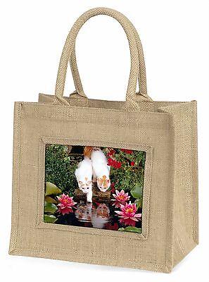 Türkisch Van Katzen von Fisch Teich Große natürliche jute-einkaufstasche