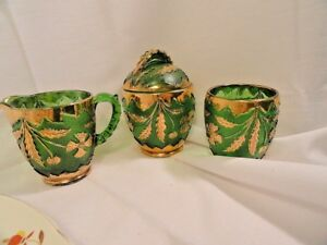 4-Pcs-Green-Pressed-Glass-Gold-Floral-Decoration-Sugar-Creamer-Tumbler-AS-IS