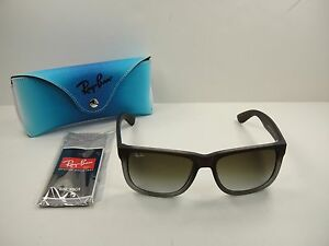 391072331e6 RAY-BAN JUSTIN SUNGLASSES RB4165 854 7Z BROWN RUBBER GREY GRADIENT ...