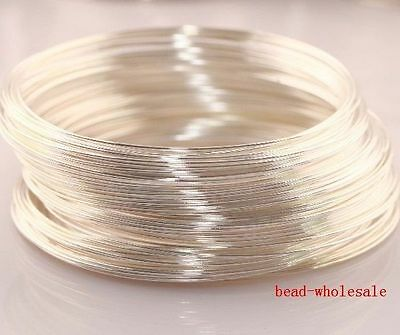 100 loops Silver Steel Memory Wire Circle For Cuff Bangle Bracelet Making 60mm