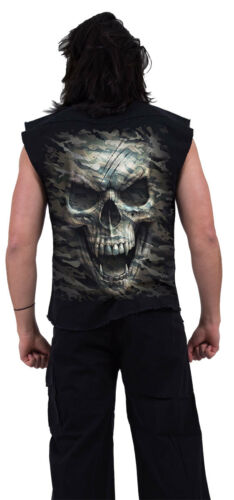 Spiral Direct CAMO-SKULL SLEEVELESS STONE WASHED WORKER//Shirt//Army//Military//Top
