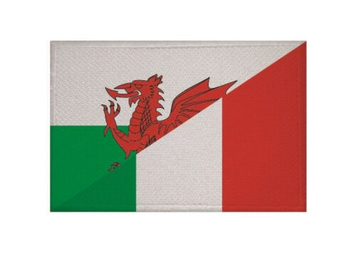 Ricamate Galles-Italia bandiera bandiera aufbügler Patch 9 x 6 cm