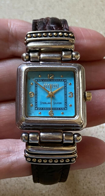 ECCLISSI Quartz Watch STERLING SILVER Case Turquoise Dial Brown Leather Strap