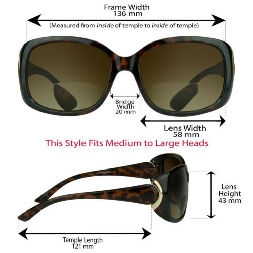 Womens Square Over Size Fashion BIFOCAL Reading Sunglasses Readers Jackie O