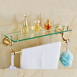 Gold Brass Bathroom Glass Shelf Towel Rack Holder Cosmetic Holder Wall Mount