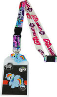 My Little Pony Multi Character Lanyard Id Badge Holder & Pvc Rainbow Dash Charm