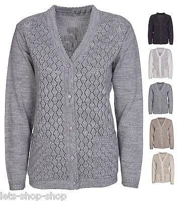 New Womens Cardigan Ladies Sizes 12-20 Front Crochet Knit Long Sleeve Aran Type