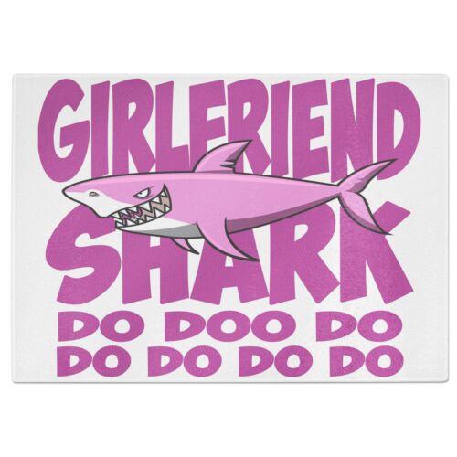 Pink Shark Do Doo Do Funny Tempered Glass Chopping Board