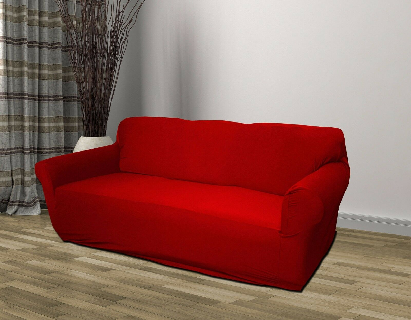 RED JERSEY SOFA STRETCH SLIPCOVER COUCH COVER CHAIR LOVESEAT