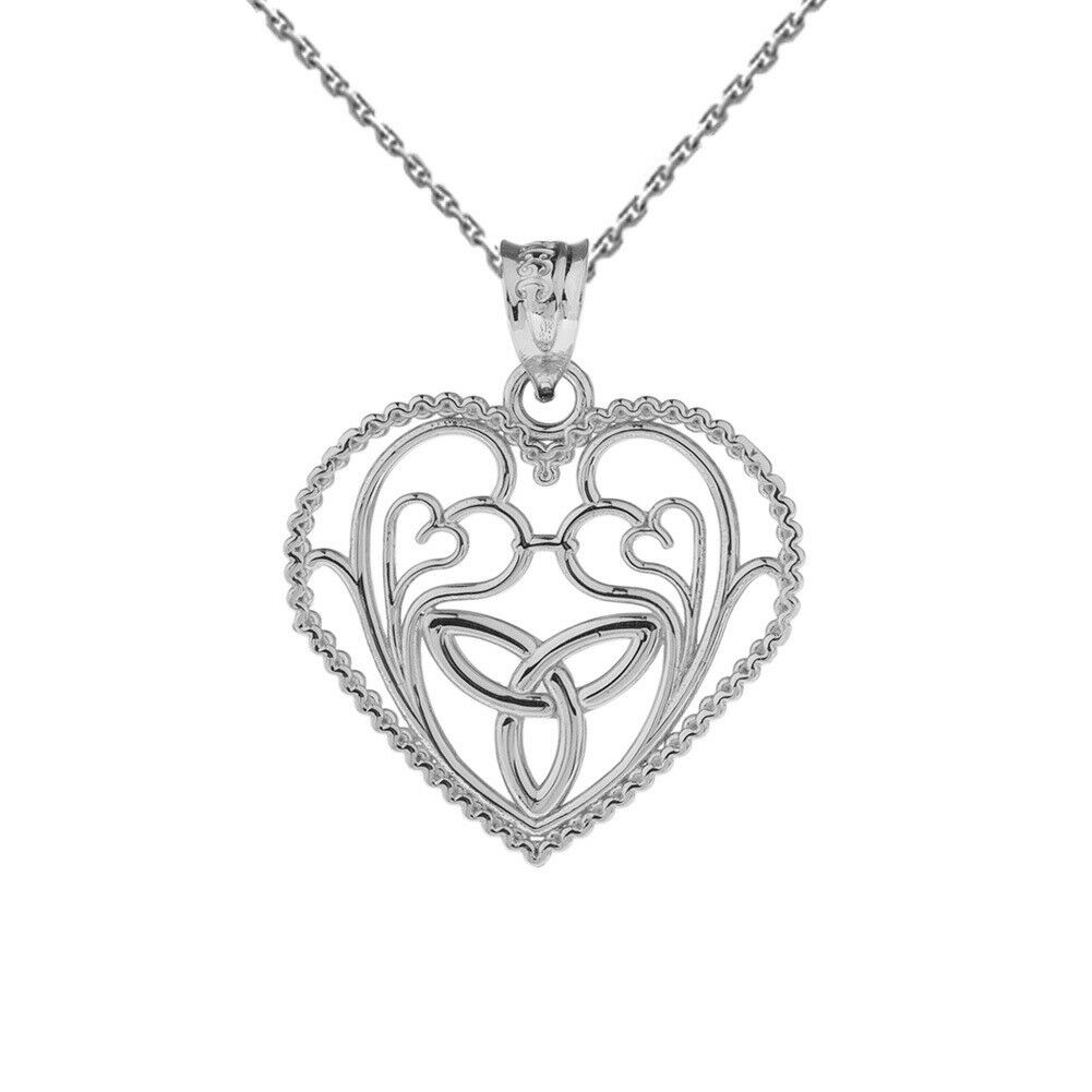 Solid 10k White gold Rope Heart Pendant w  Trinity Knot & Filigree Heart Design