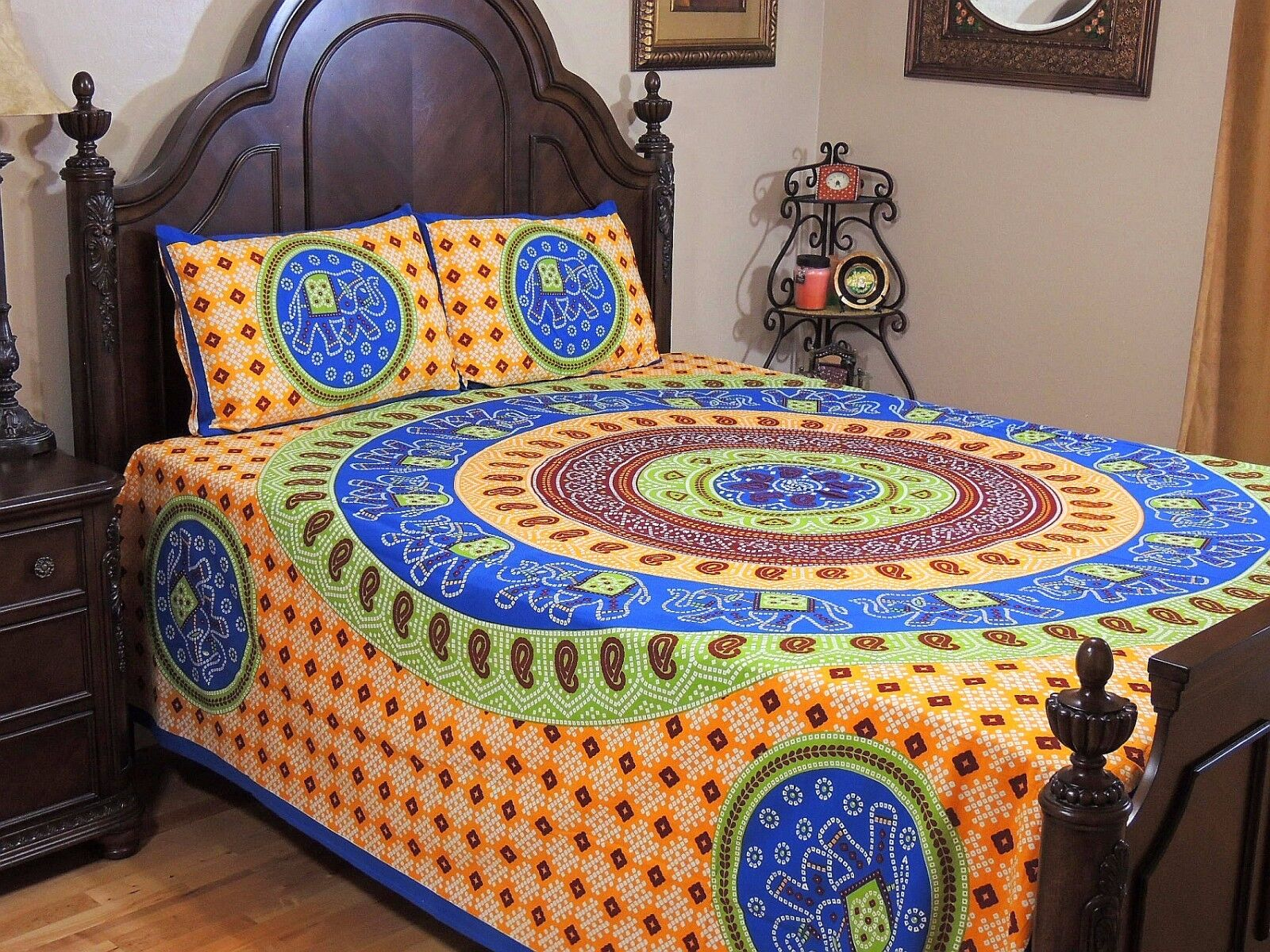 Bohemian Bedding - MultiFarbe Cotton Dot Print Gajaraj Elephant Sheet Set Queen
