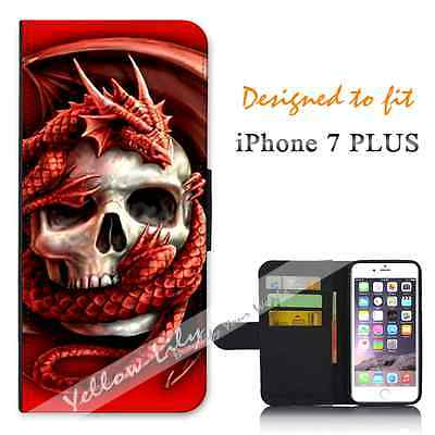 For Apple iPhone 7 PLUS Wallet Flip Phone Case Cover Skull Dragon Y00160