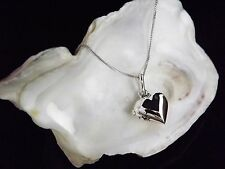 Sterling Silver 925 Puffed Heart Locket Pendant 16/18/20'' Chain Necklace Gift