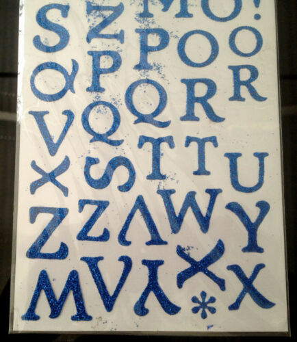 A-Z AZUL O NEGRO BRILLO Artesanía Pegatinas Etiquetas artesanías de elaboración de tarjetas Proyecto De Regalo