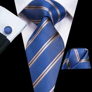 Classic-Blue-Gold-Striped-Mens-Silk-Tie-Set-Jacquard-Woven-Tie-Wedding-Formal
