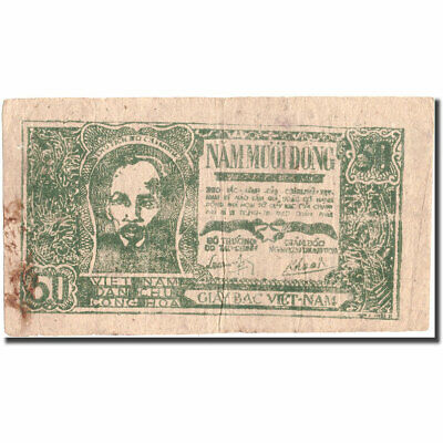 Vietnam Vf 50 Dng 1948-1949 Objective 30-35 Colours Are Striking Km:27c Undated #215482 Banknote