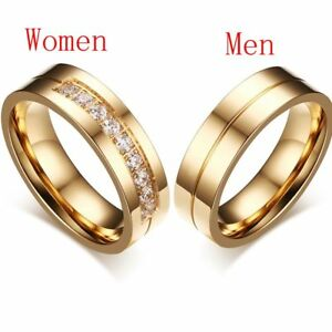 1X-Wedding-Bands-Rings-For-Love-18K-Gold-Plated-CZ-Zirconia-Stainless-Steel-Ring
