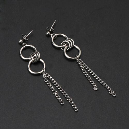 Korean Long Tassel Stainless Steel Cricle Earrings Drop Kpop  Fashion Schmuck