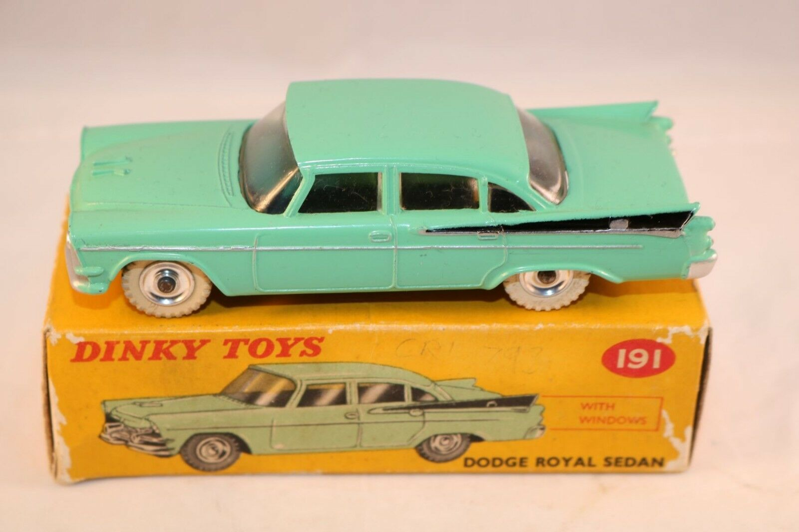 Dinky Toys 191 Dodge Royal Sedan with windows very very near mint in box