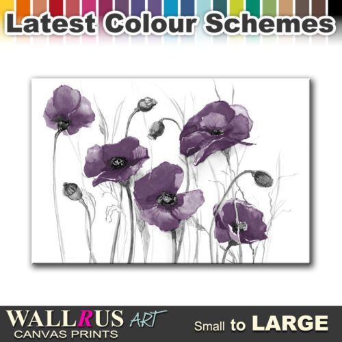 Poppies Flowers FLORAL  Canvas Print Framed Photo Picture Wall Artwork WA
