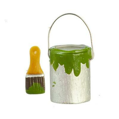 Dollhouse Miniature 1:12 Scale Paint Can /& Brush w//Green Paint