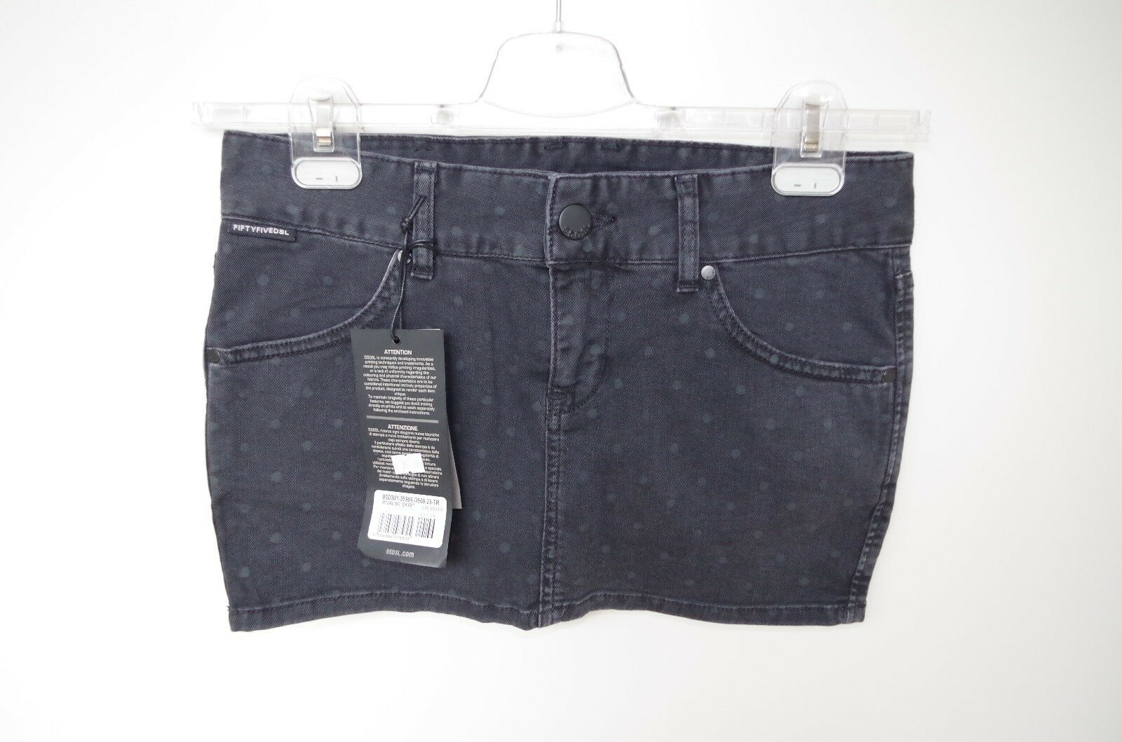 DIESEL sz 26 WOMENS SKIRT MINI POLKA DOT DENIM JEANS SOLID BEACH ROUTES PENCIL